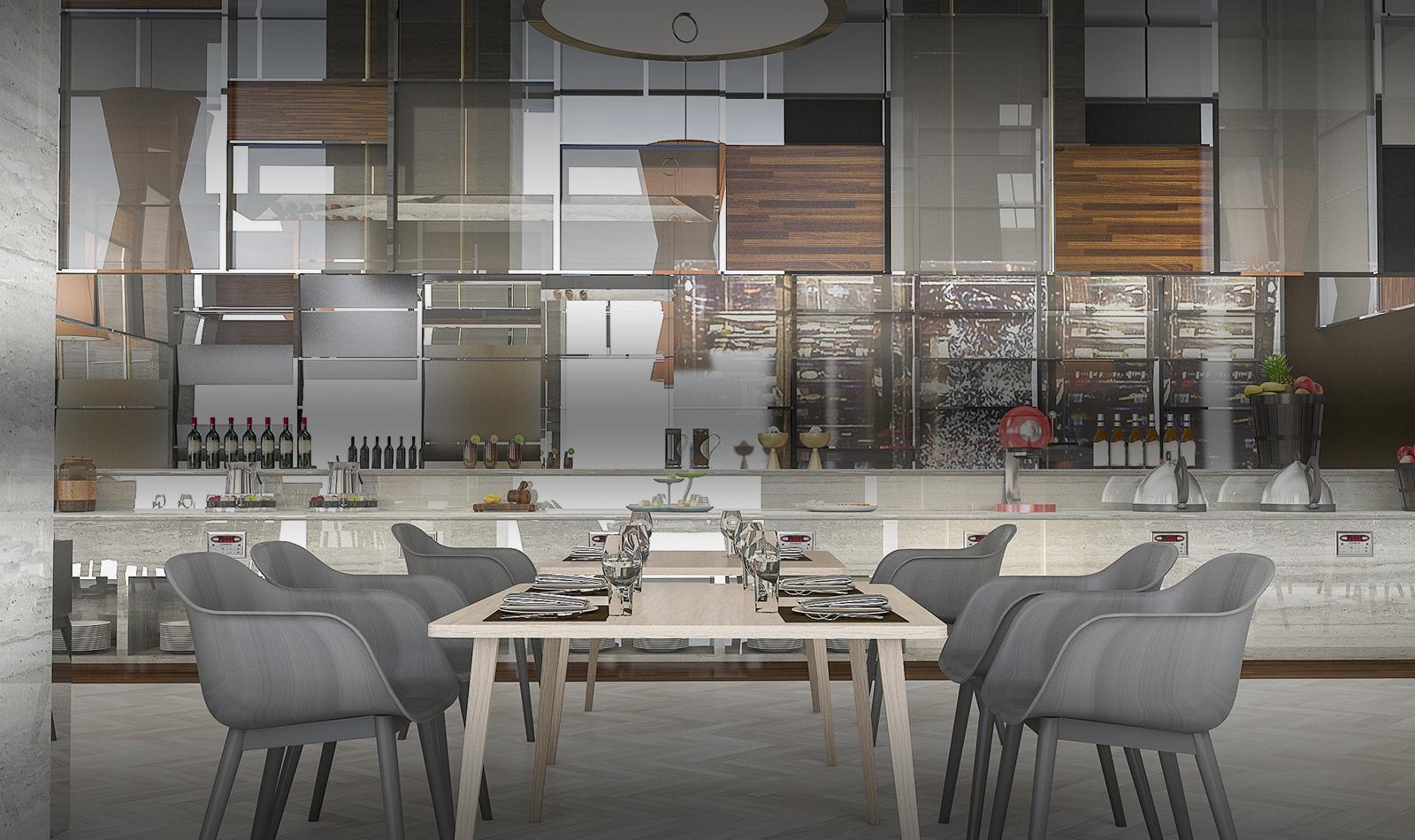Rendering of a modern communal buffet restaurant service