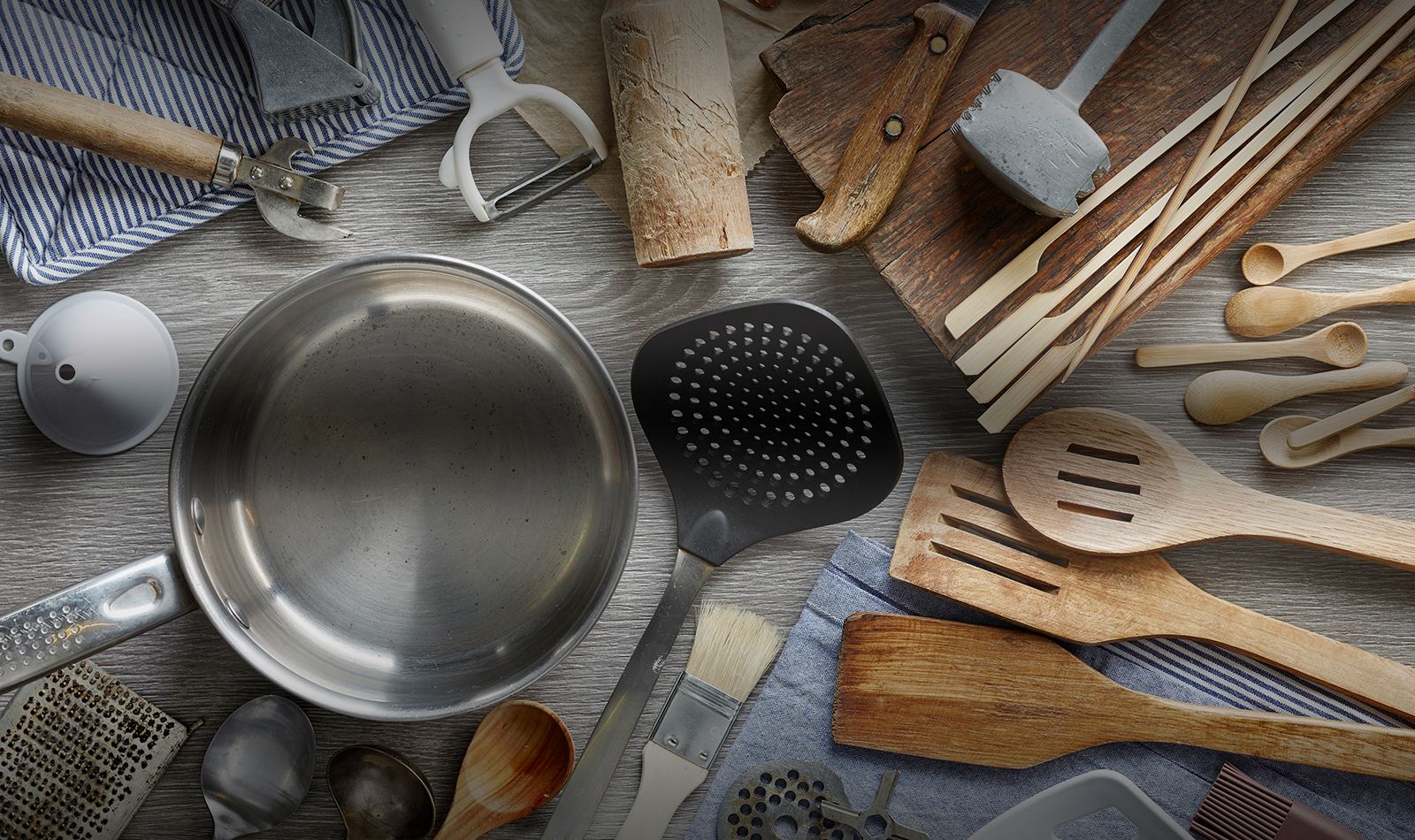 An array of kitchen supplies and smallwares