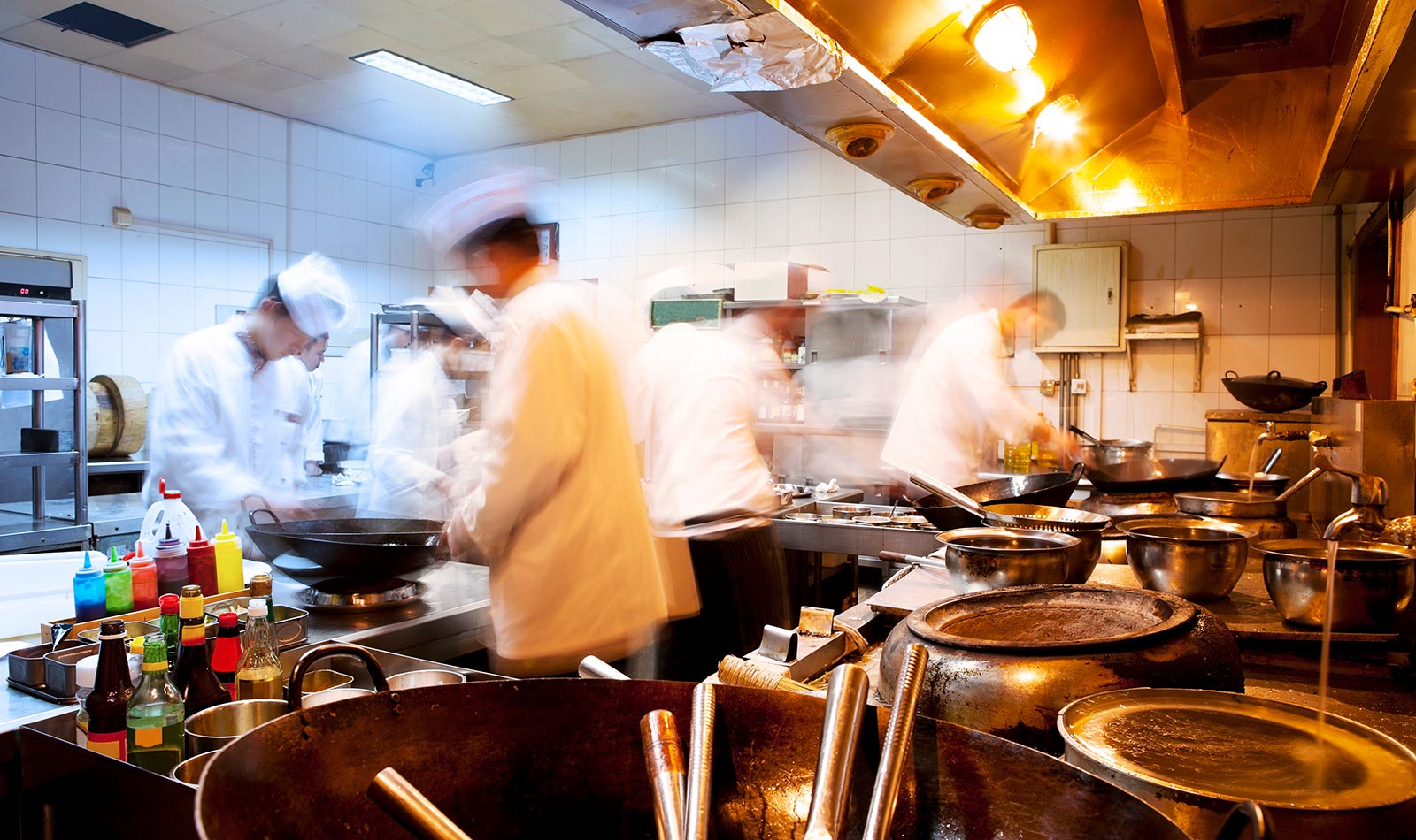 Chefs in action during the dinner rush