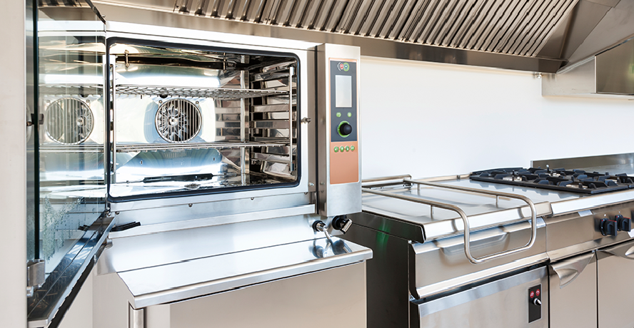 Restaurant cooking line equipment including convection oven, griddle and gas range under a ventilation hood