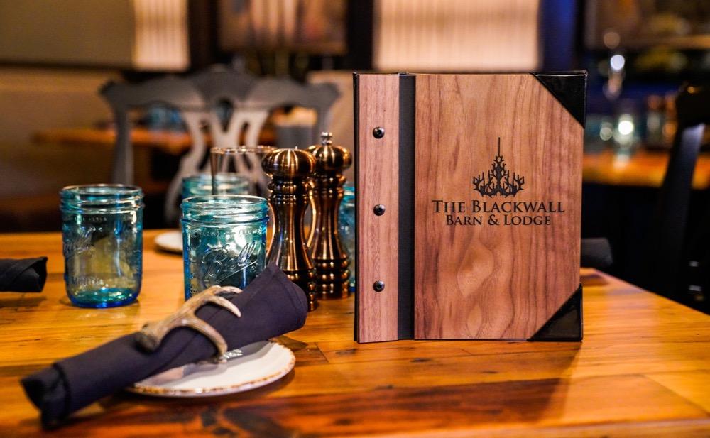 table setting and Menu of The Blackwall Barn and Lodge