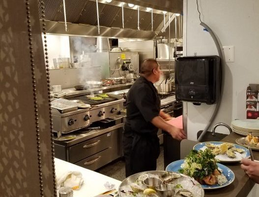 Plated food and Chef at La Vie